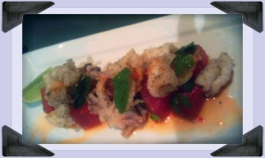 Szechuan pepper squid, compressed watermelon, nam-jim dressing